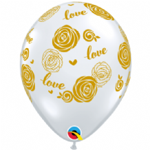 Love Roses (Clear with Gold Ink) - 11 Inch Balloons 25pcs